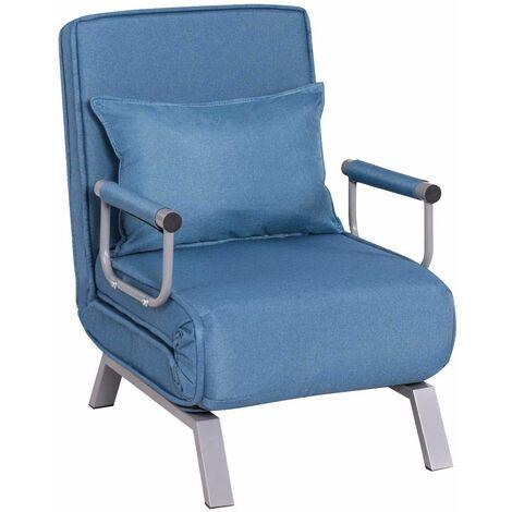 Sofá Cama Plegable Individual Silla Sillón Ajustable Tumbona con Colchón para Oficina Balcón Jardín (Azul)