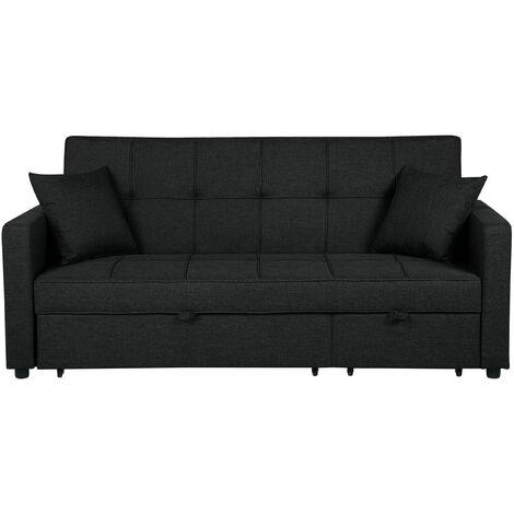 Sofá cama tapizado negro GLOMMA