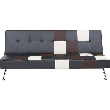 Sofá cama tapizado negro/patchwork OLSKER