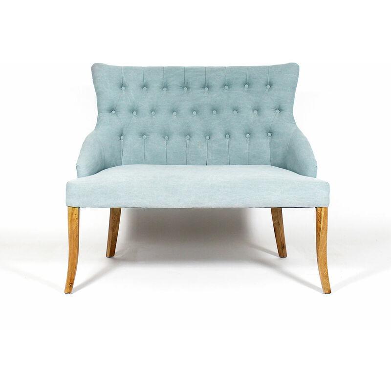 Made In Meubles - Sofa capitonné bleu pastel style baroque 2 places - bleu clair