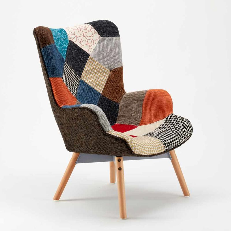 Sofa Chair Patchwork Scandinavian Padded Living Offices Patchy