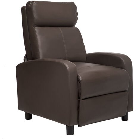 Sofa Chair Reclining Single Thicken Home Theater Seating Modern Gaming Recliner Brown