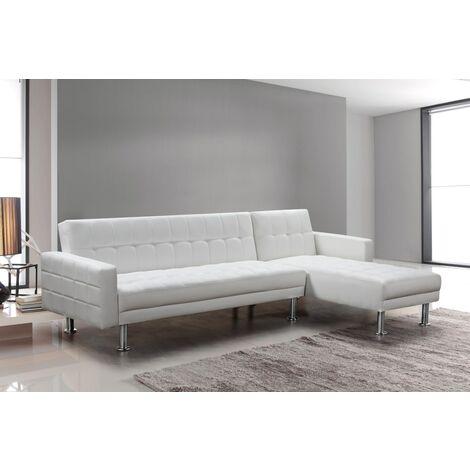 Sofá chaise-longue cama km-16040SB blanco polipiel 3 plazas