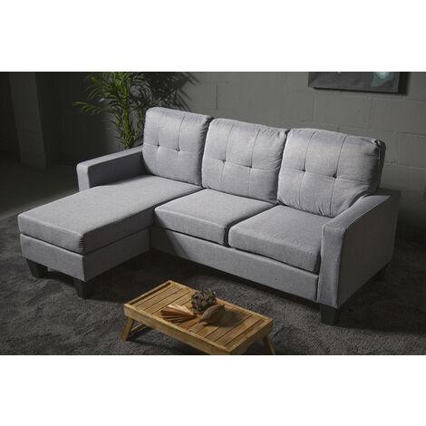 """main image of """"Sofá chaise-longue rut gris claro, reversible con opción de puff individual aprovechando espacio y estilo diferente"""""""