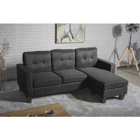Sofá chaise-longue rut negro reversible con opción de puff individual aprovechando espacio y estilo diferente