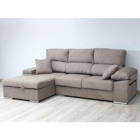 Sofa Chaiselongue, 3 plazas, en medida 270 cms, color Turrón, ref-03