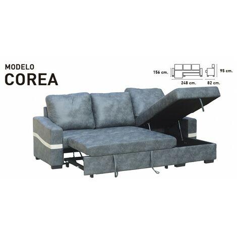 Sofa Chaiselongue Cama, 3 plazas, 248 cms, color Marengo, ref-01