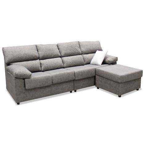 Sofa chaiselongue, color gris, 4 plazas, ref-07