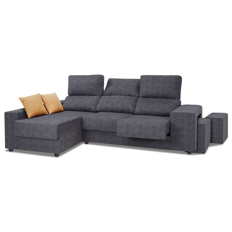 Sofa chaiselongue, color negro, reclinable y extensible, 2 pufs de regalo, ref-125