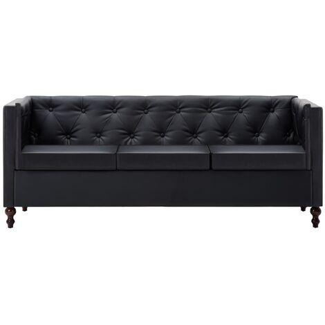 Sofá Chesterfield de 3 plazas de cuero sintético negro