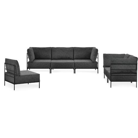 Sofá combinable 3-2-1 negro - modular - decorativo - armazón + cojines tapizados - máximo confort
