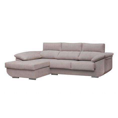 SHIITO- Sofá de tres plazas con chaise longue izquierda modelo MASERATTI tela color crudo