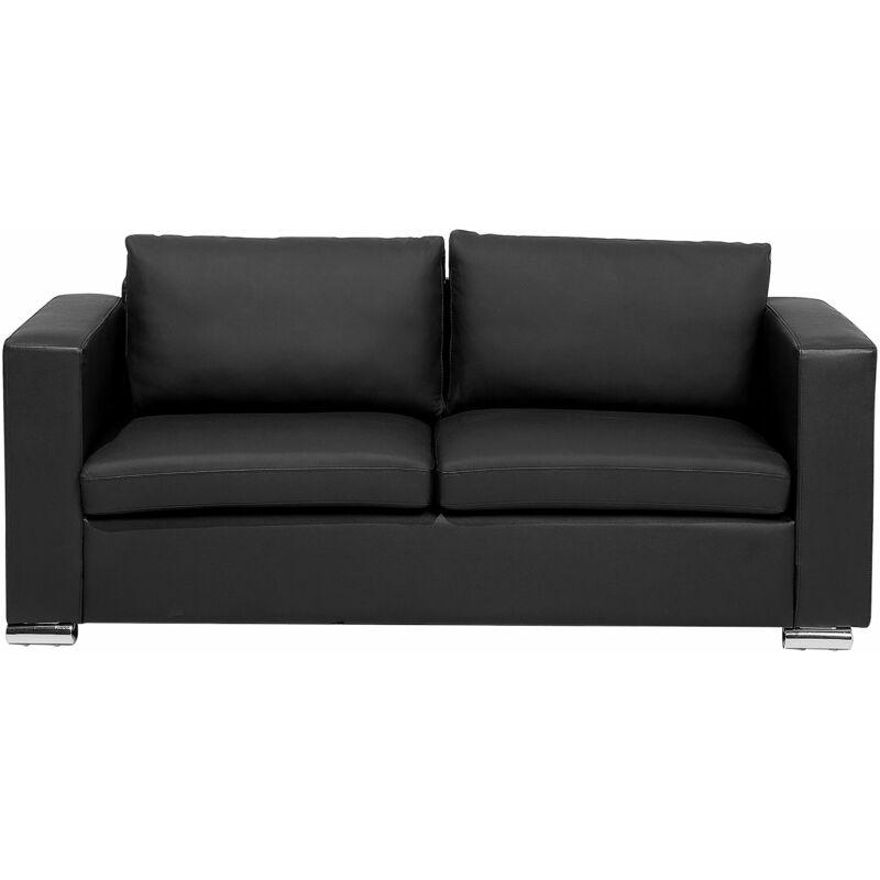 Sofa 3-Sitzer Schwarz aus Leder in geradliniger Form Modernes Design - BELIANI