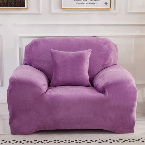 """main image of """"Sofa Covers 1 2 3 4 Seater Velvet (Not Include Cushion ) Pure Color Sofa Slipcovers Protector Easy Fit Elastic Fabric Stretch Machine Washable Couch Slipcover (1 Seater:90-140cm, Light Purple)"""""""