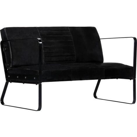 Sofá de 2 plazas cuero auténtico negro