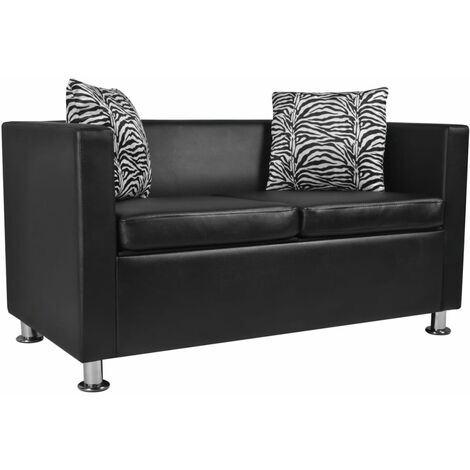 Sofá de 2 plazas de cuero artificial negro