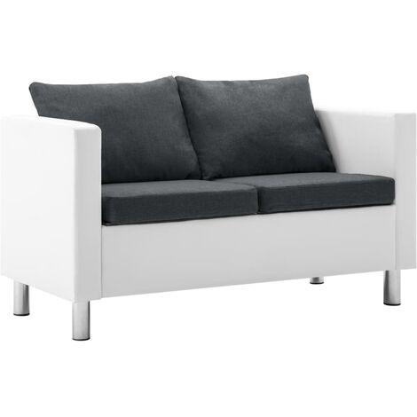Sofá de 2 plazas de cuero sintético blanco y gris oscuro