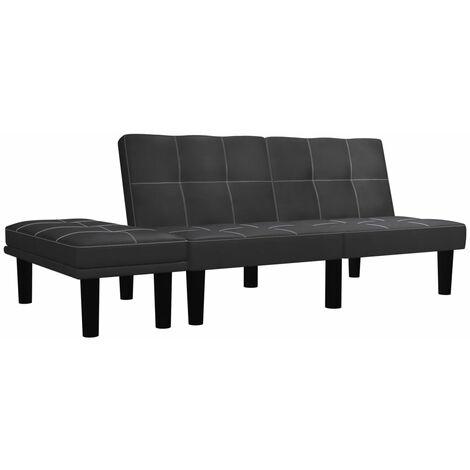 Sofá de 2 plazas de cuero sintético negro