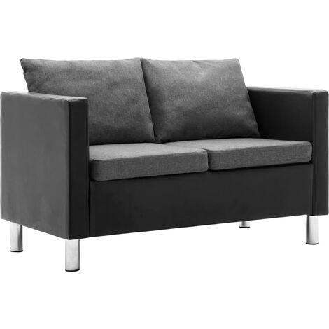 Sofá de 2 plazas de cuero sintético negro y gris claro