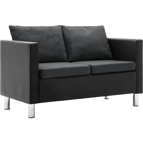Sofá de 2 plazas de cuero sintético negro y gris oscuro