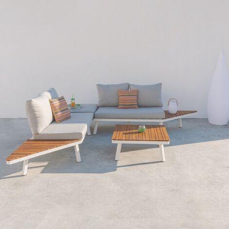 Sofá de 2 plazas de exterior blanco de aluminio para terraza Garden