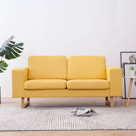 Sofá de 2 plazas de tela amarillo