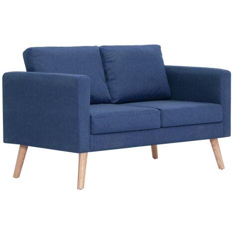 Sofá de 2 plazas de tela azul