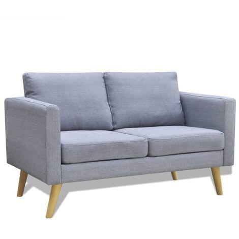 Sofá de 2 plazas de tela gris claro