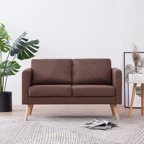 Sofá de 2 plazas de tela marrón