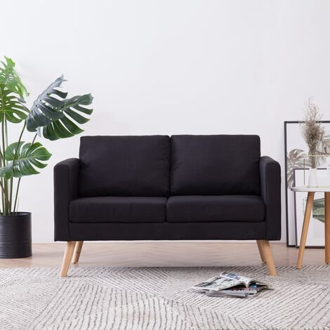 Sofá de 2 plazas de tela negro