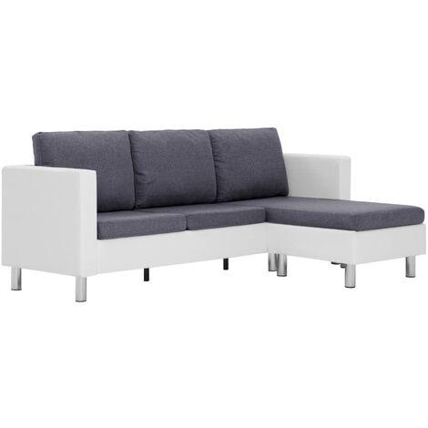 Sofá de 3 plazas con cojines piel sintética blanco