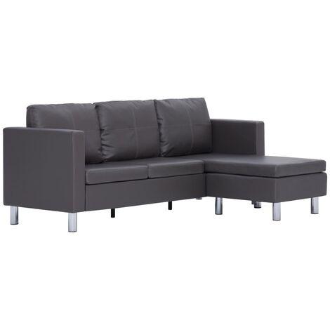Sofá de 3 plazas con cojines piel sintética gris