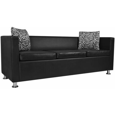 Sofá de 3 plazas de cuero artificial negro