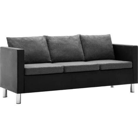 Sofá de 3 plazas de cuero sintético negro y gris claro