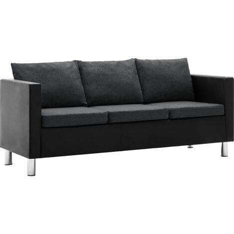 Sofá de 3 plazas de cuero sintético negro y gris oscuro