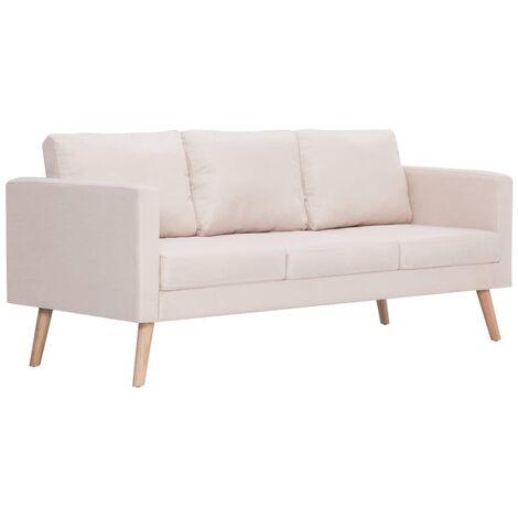 Sofá de 3 plazas de tela color crema