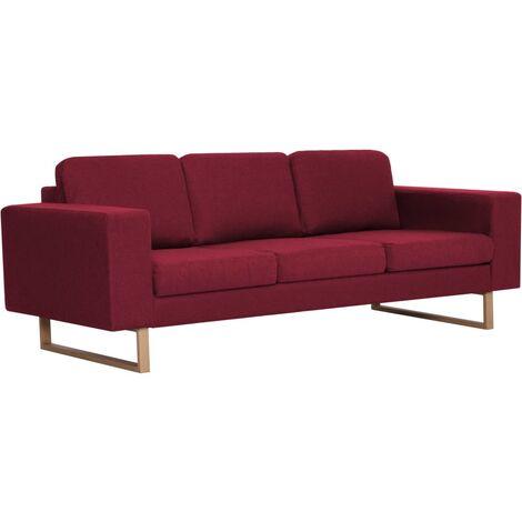 Sofá de 3 plazas de tela color vino tinto