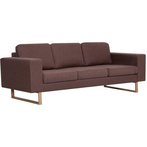Sofá de 3 plazas de tela marrón