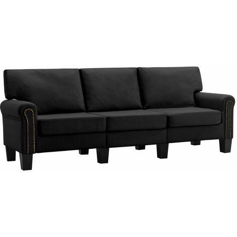 Sofá de 3 plazas de tela negro