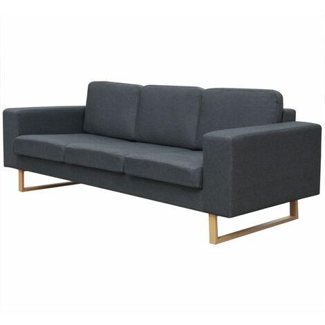 Sofá de 3 plazas tela gris oscuro