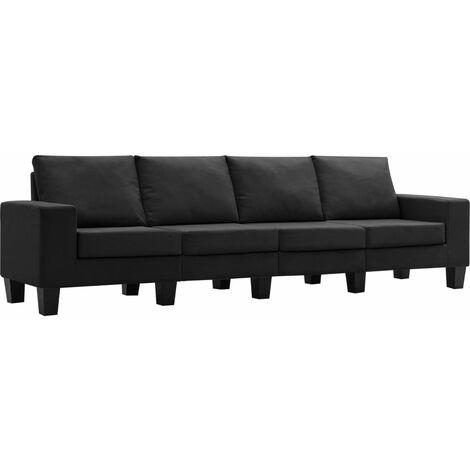 Sofá de 4 plazas de tela negro
