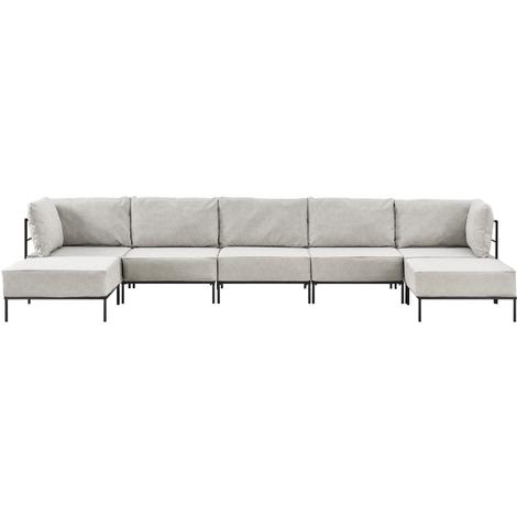 Sofá de 5 plazas beige - modular - decorativo - armazón + cojines tapizados - máximo confort