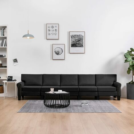 Sofá de 5 plazas de tela negro