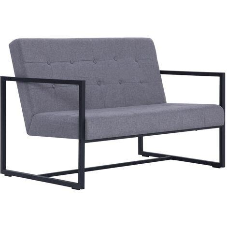 Sofá de dos plazas con reposabrazos acero y tela gris claro