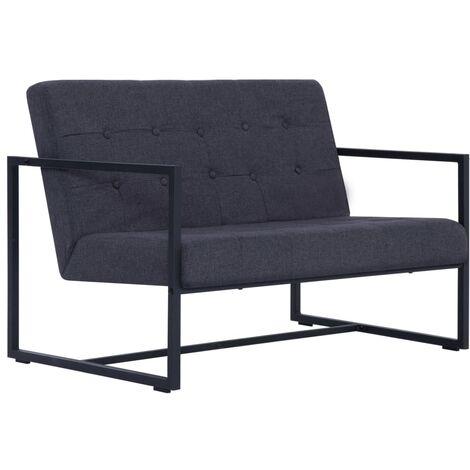 Sofá de dos plazas con reposabrazos acero y tela gris oscuro