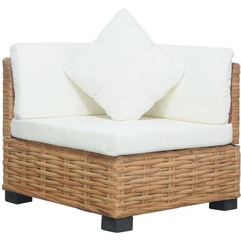 Sofá de esquina con cojines ratán natural