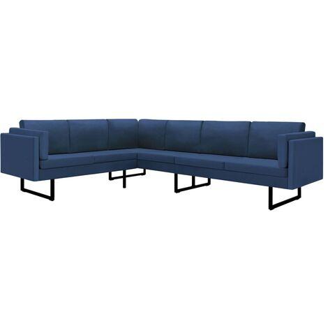 Sofá de esquina de tela azul