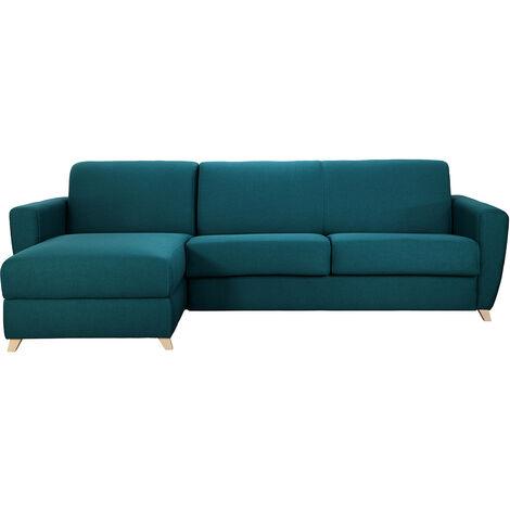 Sofá de esquina reversible y convertible con cofre azul petróleo GRAHAM