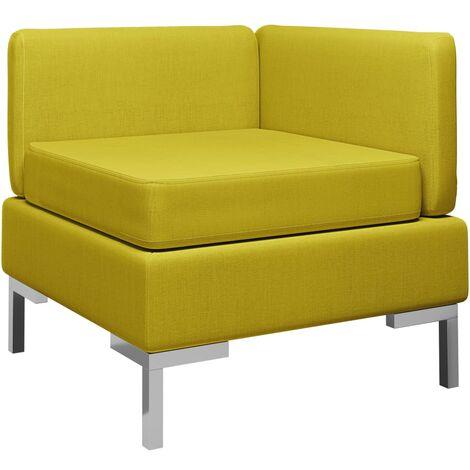 Sofá de esquina seccional con cojín tela amarillo
