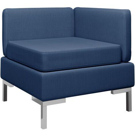 Sofá de esquina seccional con cojín tela azul